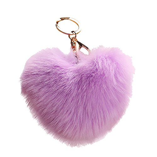 (Cute Heart Shape Pendant Women Key Ring Holder Pompoms Key Chains,Outsta 2019 Fashion Jewelry Hot Sale!Under 5 Dollars Gifts for Her)