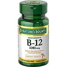 Nature's Bounty B-12 5000 mcg Supplement Quick Dissolve Natural Cherry Flavor - 40 Tablets