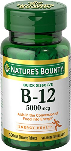 Nature's Bounty Vitamin B12 Supplement, Supports Metabolism and Nervous System Health, 5000mcg, 40 Tablets