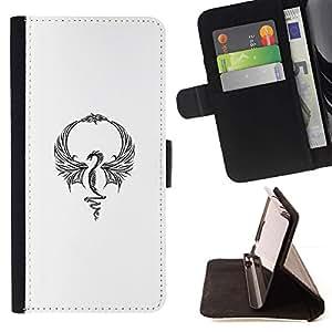 Momo Phone Case / Flip Funda de Cuero Case Cover - Dragón Blanco tinta del tatuaje minimalista - Huawei Ascend P8 Lite (Not for Normal P8)