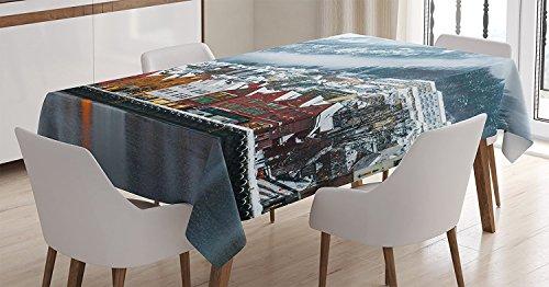 Ambesonne Cityscape Tablecloth Landscape Rectangular