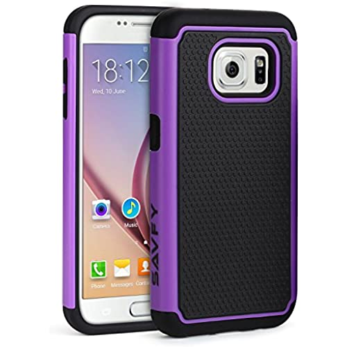 S7 Edge Case, SAVFY [Drop Protection] Protective Case [Shock Proof] Dual Lawyer Hybrid Defender Armor Case Cover For Samsung Galaxy S7 Edge - Black&Purple Sales