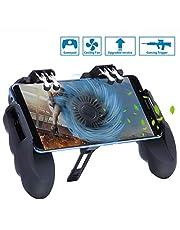 HEYSTOP PUBG Mobile Game Controller Sechs Finger All-in-One mit Lüfter, Handyspiel-Auslöser Sensitive Schieß- und Zieltasten, Geeignet für 4,7-6,5 Zoll Android & iOS Verschiedene Spiel (4 Triggers)