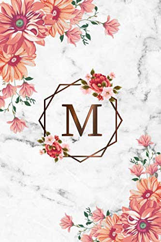 Grid Girl - M: Cute Initial Monogram Letter M Dot Grid Bullet Notebook. Pretty Personalized Journal & Diary with Dotted Grid Pages for Writing & Note Taking for Girls and Women - Nifty Grey Marble Floral Print