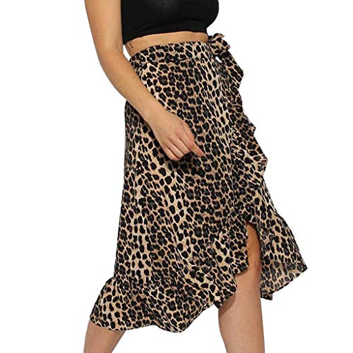 Toponly Women's Hippie Bohemian Leopard Frill Wrap Midi Skirt Gypsy Dress Boho Flowers Ruffle Asymmetric Hem - Gypsy Mama Wrap