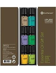 Aromatherapy Oil Gift Set by Eve Hansen - 6 10ml Essential Oils (Lavender, Peppermint, Eucalyptus, Tea Tree, Lemon, and Sandalwood)