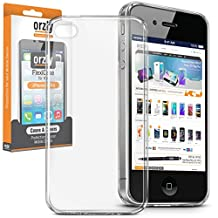 Orzly® - FlexiCase for Apple iPhone 4 (2010 Model) & iPhone 4S (2011 Version) - Protective Flexible Silicon Gel Phone Case in 100% TRANSPARENT