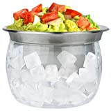 Estilo Stainless Steel Dip Chiller Bowl with Acrylic Ice Chamber Bowl Base
