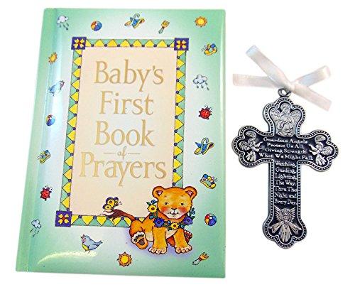 Baby CRIB CROSS & PRAYER Book - Gift Boy or Girl BAPTISM BOXED Guardian - Baby Cross Prayer Girl