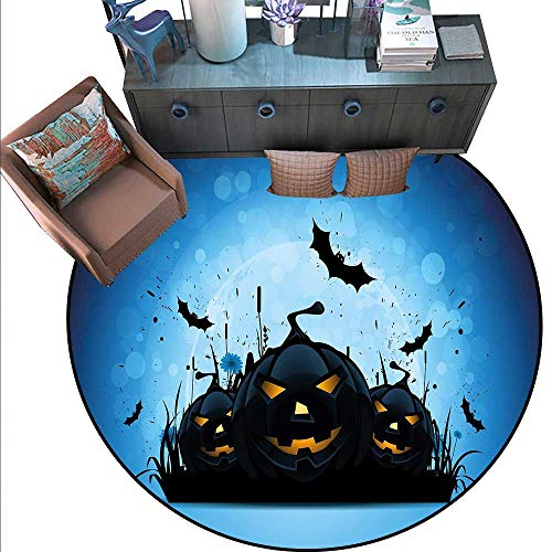 Halloween Round Floor Cover Scary Pumpkins in Grass