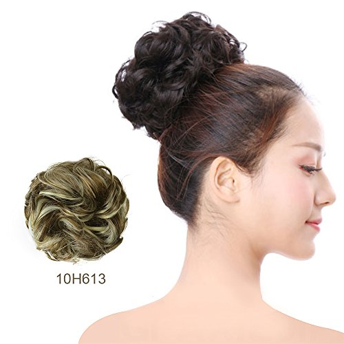 Scrunchie Bun Up Do Hair Piece Hair Ribbon Ponytail Extensions Wavy Curly Messy Extensions Donut Hair Chignon Hair Wigs Scrunchy-10H613# from RONHAN