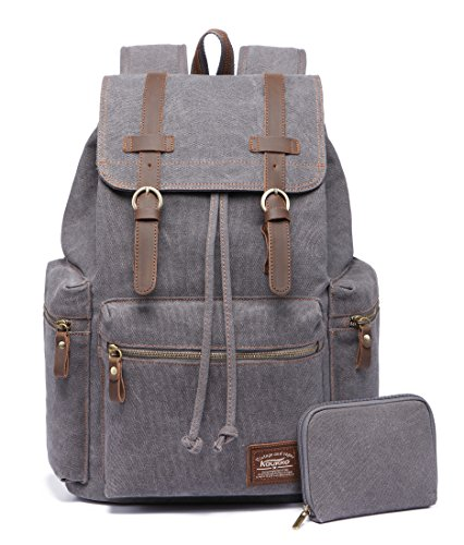 KAUKKO Canvas Vintage Backpack Casual Backpack School Leather Rucksack Outdoor Travel Backpack(Grey-1)