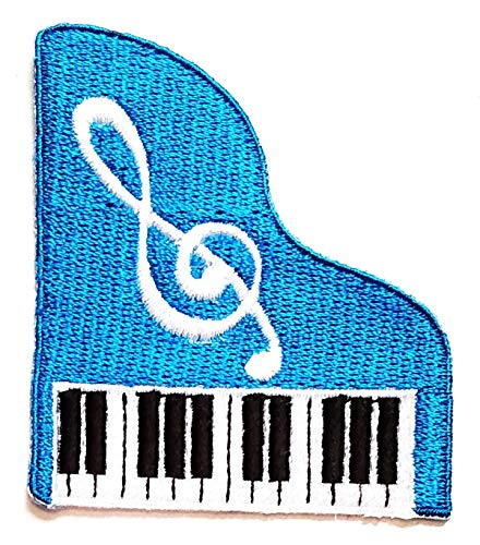 Nipitshop Patches Pretty Cute Blue Piano Music Note Patch Piano Keyboard Cartoon Children Kids Embroidered Iron Patch Sew On Patch Clothes Bag T-Shirt Jeans Biker Badge Applique