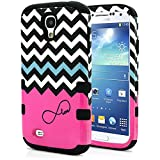 Galaxy S4 Case, MagicMobile® Hybrid Impact Shockproof Protective Case for Samsung Galaxy S4 Cover Hard Armor Shell and Soft Silicone Skin Layer [ Chevron Pattern with Infinity Pink Love Design and Black Silicone ]