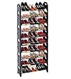 Adjustable Tiers Round-Shaped Shoe Tower Rack Organizer Space Saving Shoe Rack Black Type 1