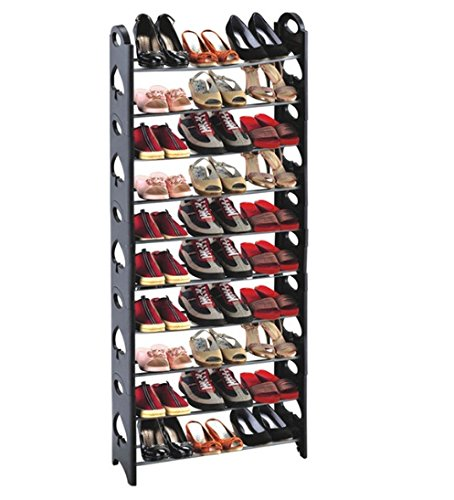 Adjustable Tiers Round-Shaped Shoe Tower Rack Organizer Space Saving Shoe Rack Black Type 1 by nokkoshop19