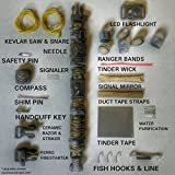 The EDC Prepper - Paracord Bracelet Survival Kit Equipped with LED flashlight buckle, ceramic razor, firestarter, fishing supplies, handcuff key, kevlar saw, and more.