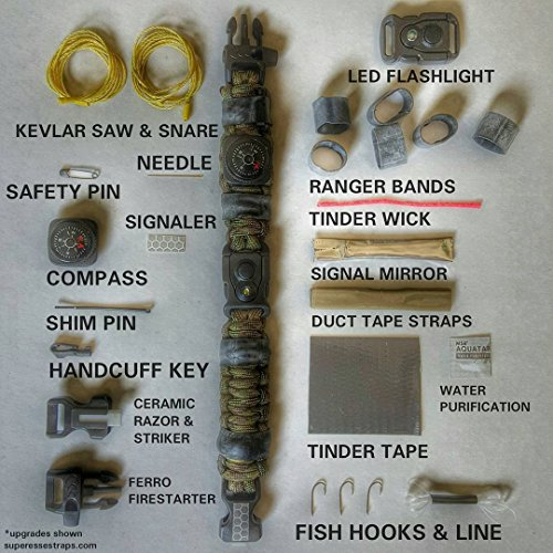 The EDC Prepper - Paracord Bracelet Survival Kit Equipped with LED flashlight buckle, ceramic razor, firestarter, fishing supplies, handcuff key, kevlar saw, and more. by Superesse Straps