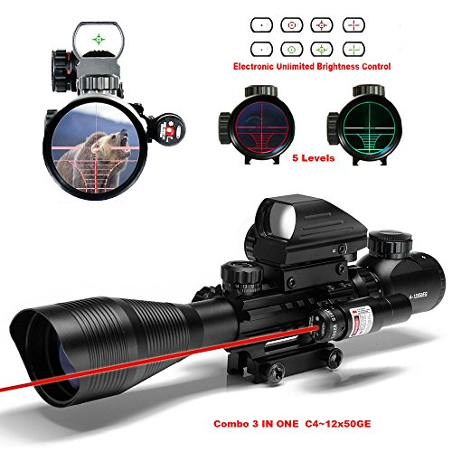 Coopike-C4-12x50-AR15-Combo-3-IN-1-Tactical-Rifle-Scope-Red-Green-Illuminated-Mil-Dot-Optical-holographic-dot-sight-AR-Gun-Scope