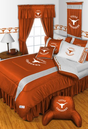 Texas Longhorns KING Size 14 Pc Bedding Set (Comforter, Sheet Set, 2 Pillow Cases, 2 Shams, Bedskirt, Valance/Drape Set (84-inch drape length) & Matching Wall Hanging) - SAVE BIG ON BUNDLING! (Inch Hanging 84 Curtains)