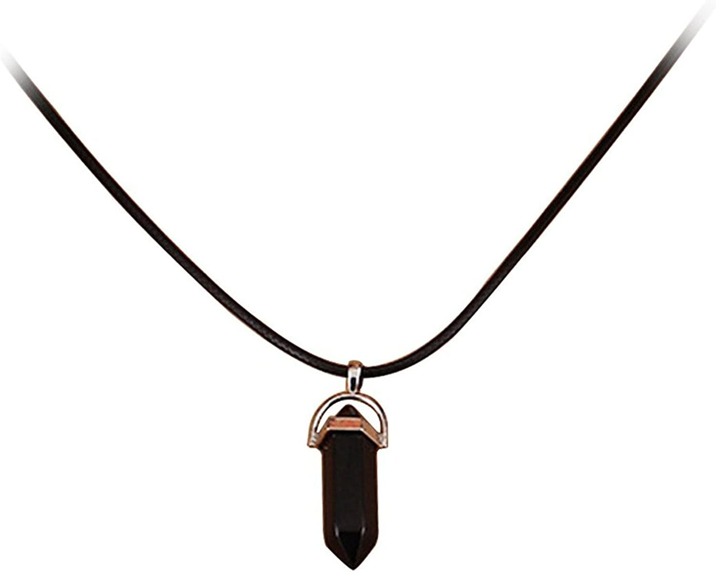 TOOGOO(R) Collar colgante de cuarzo de piedras preciosas naturales de curacion de arte clasico con cuerda colgante collar negro