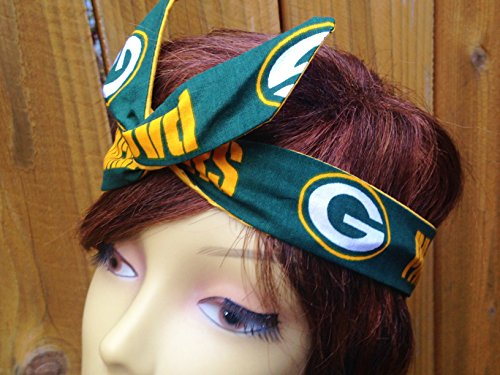 Green Bay Packers (G logo) Wired Dolly Bow Wire Headband Rockabilly Wire Scarf - - G Logo With Green A