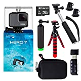 GoPro Hero7 Silver Bundle with Handheld Monopod, 12' Flexi-Tripod, Float Handle, Camera Case, Memory Card Reader, Tripod Adapter, and 8GB MicroSDHC Memory Card