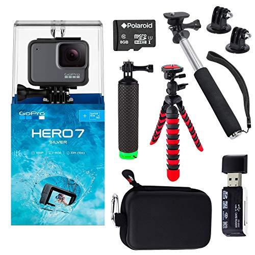 GoPro Hero7 Silver Bundle with Handheld Monopod, 12