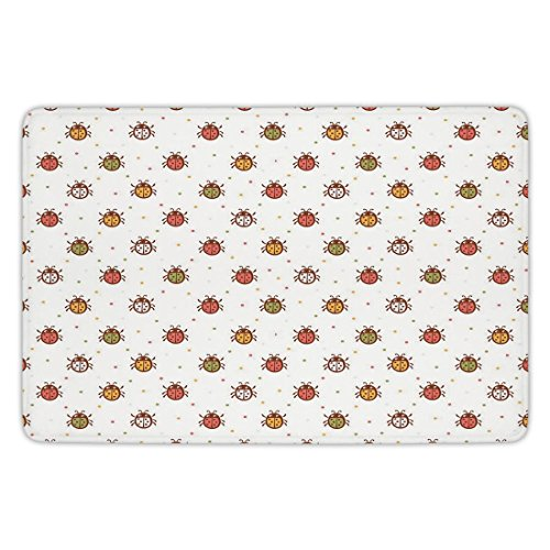 Ladybugs Good Luck - Bathroom Bath Rug Kitchen Floor Mat Carpet,Ladybugs,Pastel Color Vintage Stylized Faded Bugs Setting Nostalgic Good Luck Childhood Theme,Multi,Flannel Microfiber Non-slip Soft Absorbent