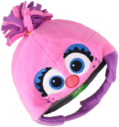 UPF 50+ Coppertone/Sesame Street UV Headwear Baby-girls Newborn Abby Infant Fleece Toque With Ear Flaps, Abby Pink, One Size ()