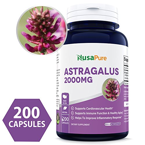 Pure Astragalus 2000mg Per Caps 200 Capsules (Non-GMO & Gluten Free) Max Strength - Supports Cardiovascular Health, Boosts Immune Function - Made in USA - 100% Money Back Guarantee