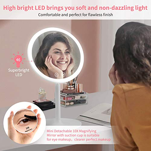 Rechargeable Lighted Makeup Mirror, 1X/10X Magnifying Vanity Mirror with 46 LED Lights, 3 Lighting Modes Dimmable 90…