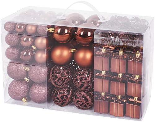 Brubaker Set di 101 Accessori Decorativi per L'Albero di Natale – addobbi Natalizie in Color Marrone – Diverse Forme di Palline ed Un Puntale per Albero di Natale