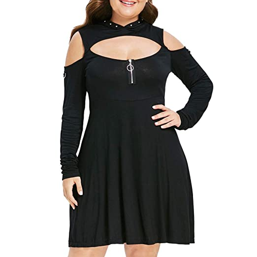 a7e0126a kaifongfu Plus Size Women Solid Color Hooded Cold Shoulder Draped Dress( Black,L)