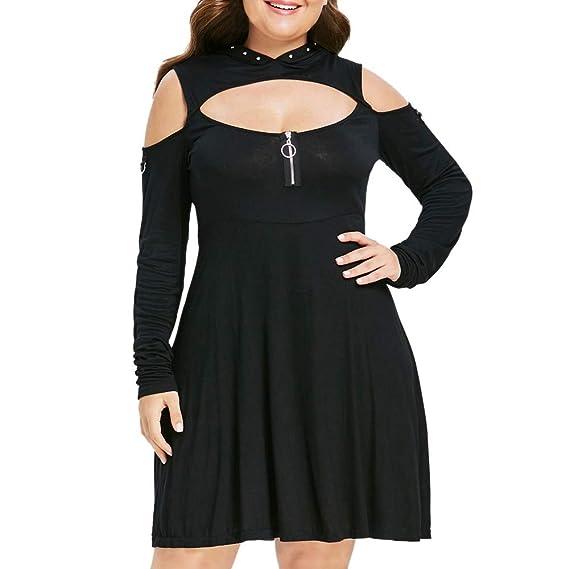Womens Plus Size Long Sequins Sleeve Keyhole Neck Ring Slit Bodycon Mini Dress