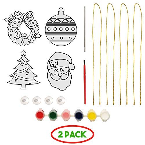 4 DIY Christmas Suncatcher Ornaments- Crafts for Kids, Girls, Boys Ages 4 & Up- Santa, Christmas Tree, Wreath & Ornament- Incl. Hanging Strings, Paint, Paint Brush, Paint Stick & Suction Cups (2 Pack)