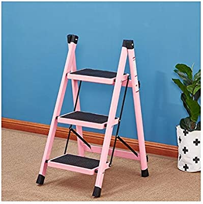 Step Stool Wooden- Escaleras de Tijeras multifunción Plegable Taburete de Paso | Pies Antideslizantes, Escalera de hogar, MAX.100KG Welcome (Color : Pink): Amazon.es: Hogar