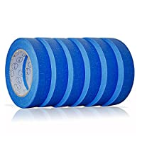 Blue Painters Tape 1 inch. x 60 yd.   6 pack   Multi Surface Use   Clean Release Trim   No Residue (.94 IN 24MM) by ALMA SUPPLIES