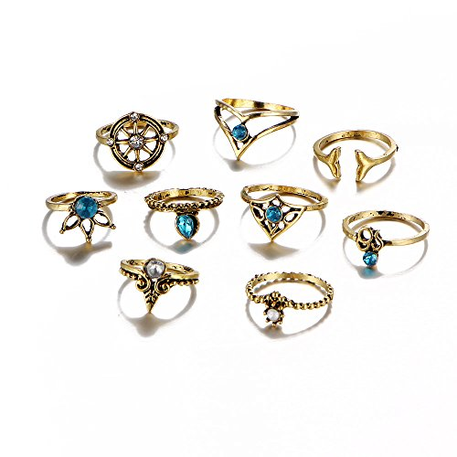 r Mermaid Knuckle Stacking Band Midi Mid Ring Set of 9pcs-Anti Gold (rg001866-2) (Gypsy Jewelry)