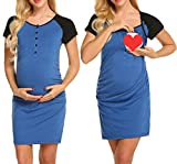 Ekouaer Women's Ruched Maternity Bodycon Dress Causual Short Sleeve Wrap Dresses Blue S