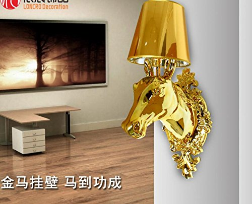 Modern hotel clubhouse project hallway aisle wall lamp living room bedroom bedside horse head wall lamp lu1271031py ( Color : Rose gold )