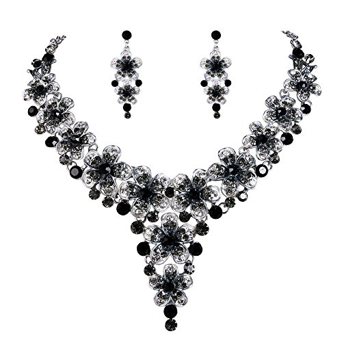 BriLove Wedding Bridal Necklace Earrings Jewelry Set Crystal Multi Hibiscus Flower Enamel Statement Necklace Dangle Earrings Set Grey Black Silver-Tone