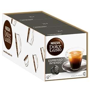 Nescafé Dolce Gusto Espresso Intenso, Fuerte, Café, Cápsulas de Café, Paquete de 3, 3 x 16 Cápsulas