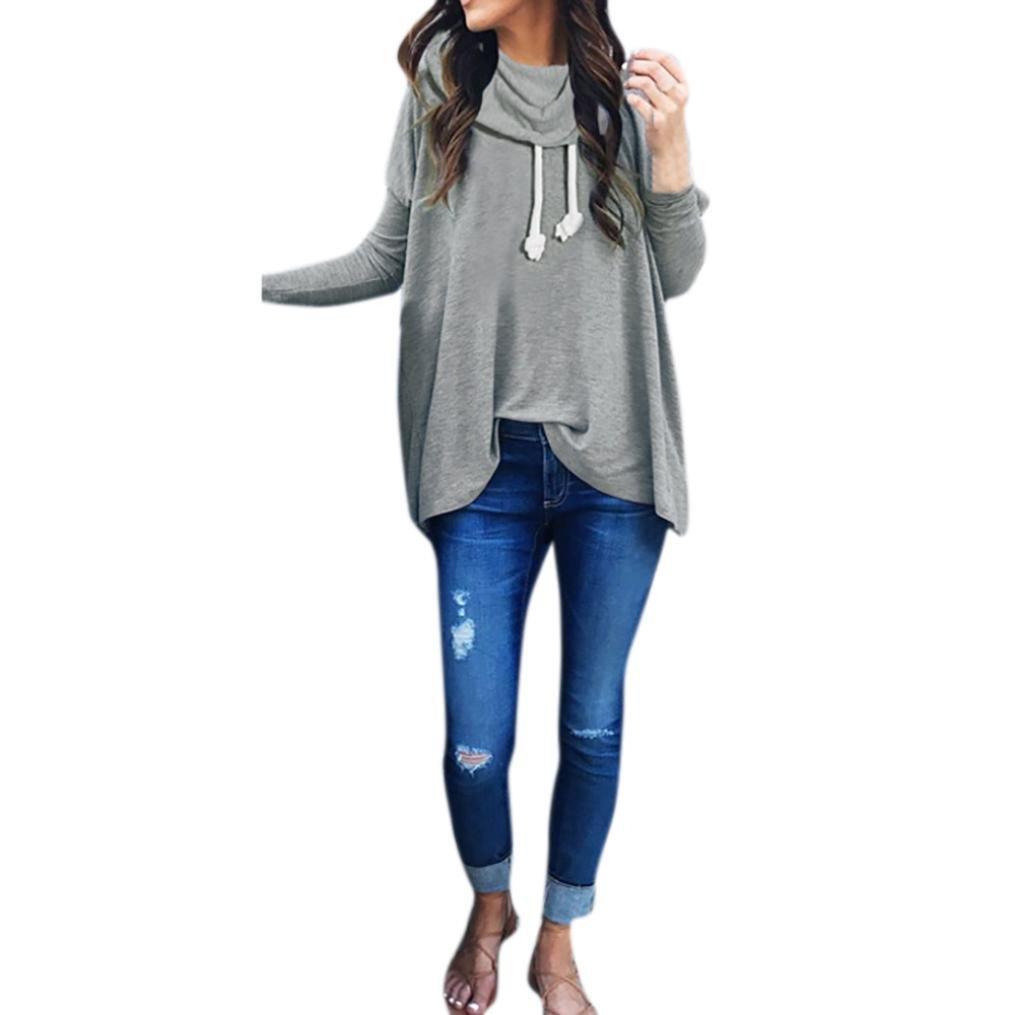 Women Casual Loose Solid Sweatshirt Funnel Neck Long Sleeve Baggy Pullover Top iQKA0726