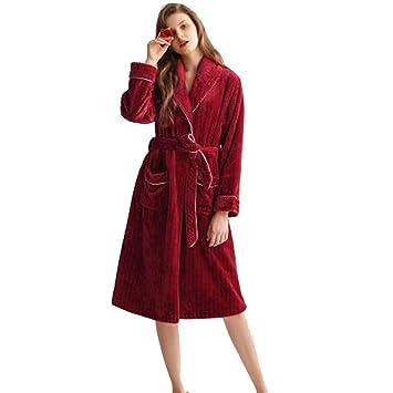 Albornoz Nan Liang Invierno 100% algodón Bata para Mujer Ropa de Dormir Acolchada roja Grande Batas Ultra Suaves (Tamaño : Metro): Amazon.es: Hogar