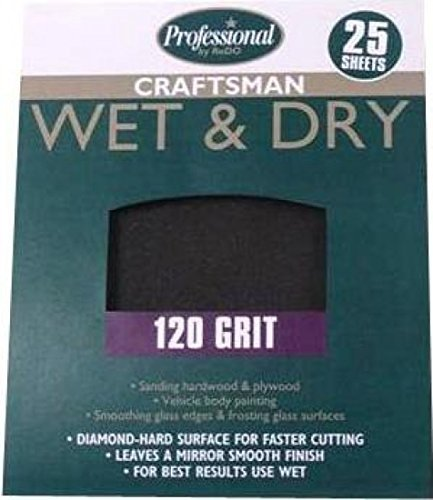 Professional 25 x Sheets Wet And Dry 120 Grit Sandpaper I...