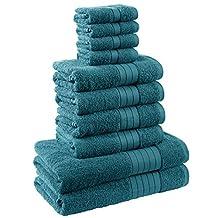 Dreamscene Luxury 100% Egyptian Cotton 10 Piece Bathroom Towel Bale Face Bath Hand Gift Set, Teal, 10-Piece