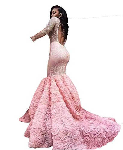 Ballkleider Damen Partykleider kleid Lang Changjie Spitze Langarm Meerjungfrau Abendkleider Rosa Applique Hqwxd8p