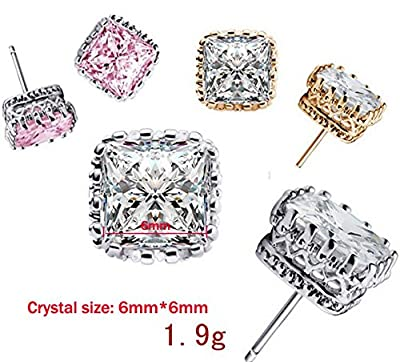 AMBESTEE Women Sterling Sliver Plated Crown Design Square Cut Crystal Cubic Inlay Zirconia Rhinestones Studs Earrings Set