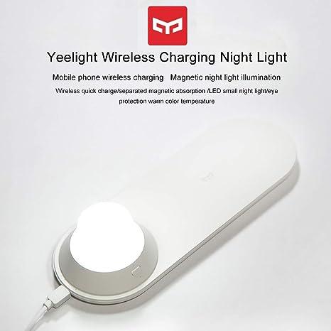 Yeelight Luz de Noche LED Nueva Versión, Luz de Noche Inalámbrica Del Cargador con Carga Magnética de Atracción Rápida para Teléfonos iPhone Samsung ...